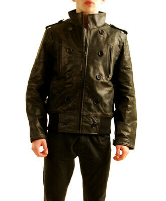 PRPS Mens Authentic Leather Jacket Slim Black Size L
