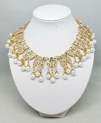 Egyptian Cleopatra Halloween Costume Faux Pearl Necklace Collar Gold Women