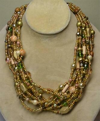 JOAN RIVERS GOLD EP NEUTRAL GLASS SEED BEAD 9 STRAND TORSADE NECKLACE NEW