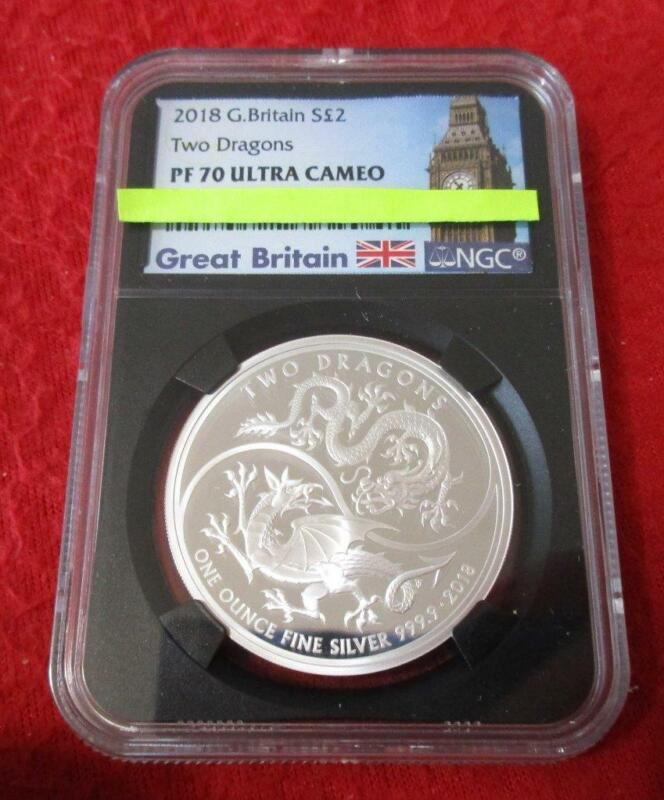 2018 Great Britain Silver 2 Pounds Two Dragons NGC PF 70 UC               #MF-