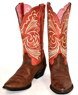 Womens Ariat Cocoa Brown Rose Coral Heritage Western Boots Leather 15726 Sz 9 B