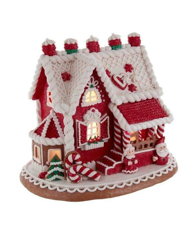 """9"""" Lighted Red Santa and Mrs Claus Gingerbread Christmas Village House"""