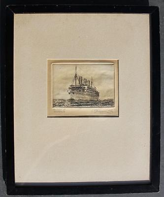 CANADIAN PACIFIC LINE RMS EMPRESS OF AUSTRALIA ORIGINAL ARTISTS SIGNED ETCHING
