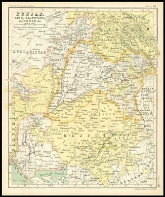 c1912 Map of PUNJAB SIND RAJPUTANA KASHMIR & C Chart Regions (BS43)