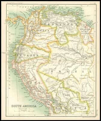 c1912 Map of SOUTH AMERICA SECTION 1 Venezuela Bolivia Peru Chart Regions (BS69)