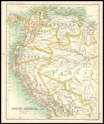 c1912 Map of SOUTH AMERICA SECTION 1 Venezuela Bolivia Peru Chart Regions (BS69)