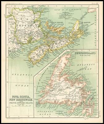 c1912 Map of NOVA SCOTIA, NEW BRUNSWICK PRINCE EDWARD ISLAND Regions (BS57)
