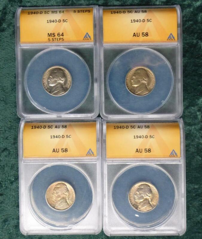 3 1940 D ANACS AU 58 & 1 1940-D ANACS MS 64 5 Steps Jefferson Nickel, 4 Coins