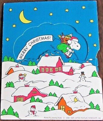 Vintage Christmas Snoopy & Woodstock  'Dial Wheel' Stick-On Card (Hallmark 1965)