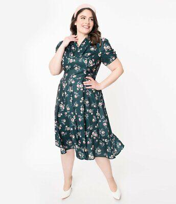 NWT Unique Vintage Plus Size 3X/20 1940s Style Floral Print Camilla Dress