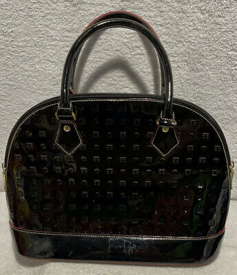 Arcadia Black Patent Leather Dome Satchel Handbag Made In Italy