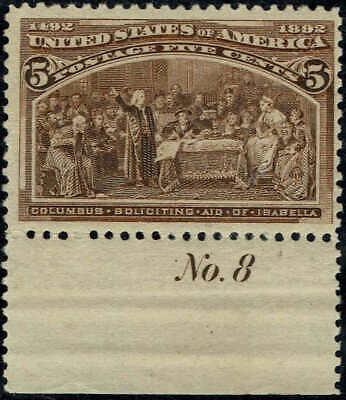 #234 bottom plate #8 1893 5 CENT COLUMBIAN ISSUE  MINT-OG/NH