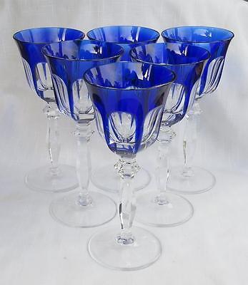6 PEILL & PUTZLER COBALT BLUE CUT TO CLEAR WINE GLASSES RHEINLAND