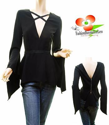 Black Gothic Medieval Renaissance Pirate Wench Peasant Dagget Sleeve Blouse Top ()