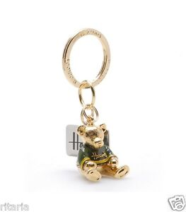 HARRODS-OF-KNIGHTSBRIDGE-LONDON-ENAMEL-TEDDY-BEAR-KEYRING-2014-XMAS-GIFT