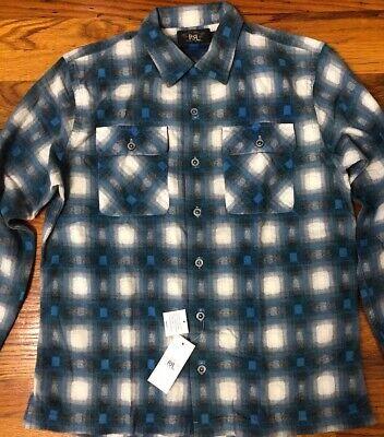 NWT RRL Double RL Ralph Lauren IndigoPlaid Cotton Work shirt Men L $245 Blue