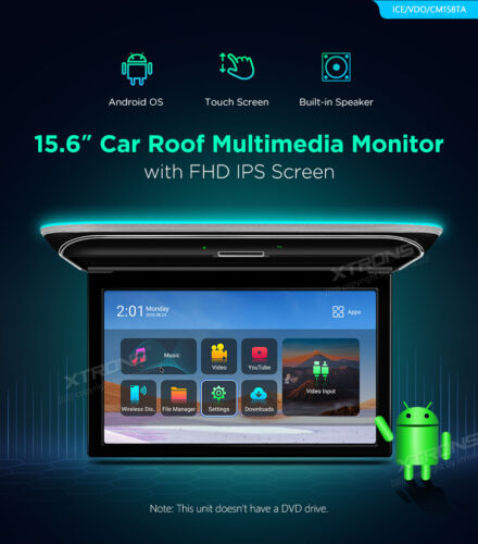 """15.6"""" Car Roof Flip Android 9.0 Overhead Down Monitor USB HDMI Touch Screen IPS"""