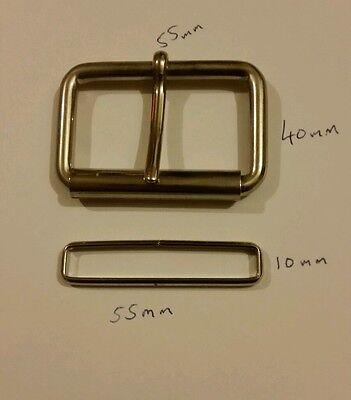 10 x 55mm Metal roller buckle + free metal belt loop,new  belt buckle
