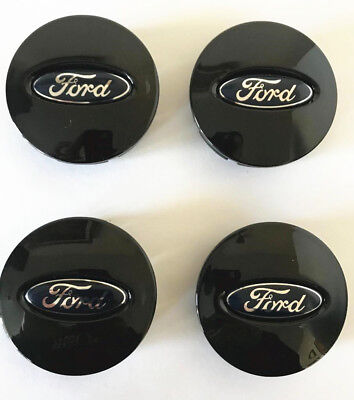 4x Ford Glossy Black Wheel Hub Center Caps #BB53-1A096-RA Edge Explorer Fusion Ford Ranger Center Caps