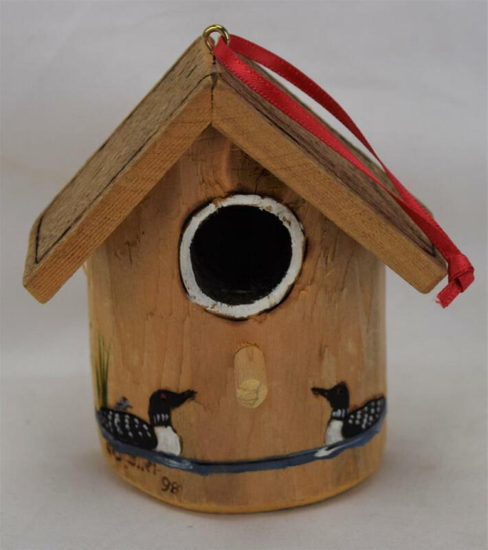 Wood Hand Painted Artist Signed Loon Bird House Ornament MINT