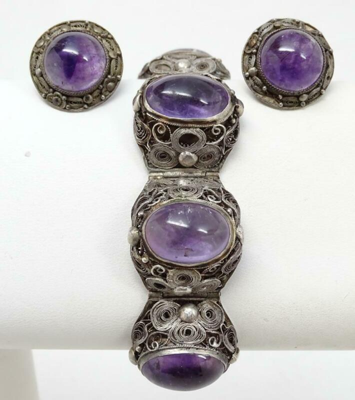 Antique Chinese Export Filigree Silver Amethyst Cabochon Bracelet & Earrings Set
