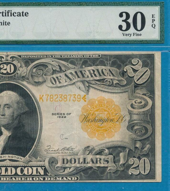 $20. FR.1187 1922 GOLD SEAL GOLD CERTIFICATE PMG VF30EPQ BRIGHT AND ATTRACTIVE