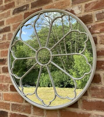 Round Garden Mirror / Interior Church Window Stone Effect Wrought Iron - 80cm