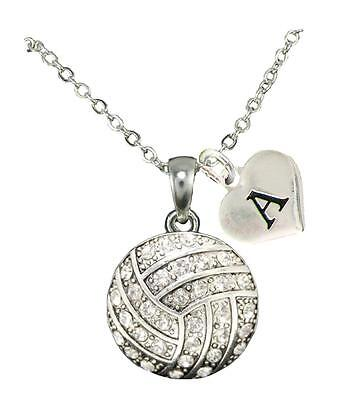 Custom Crystal Volleyball Silver Chain Necklace Choose Initial Charm All 26 - Custom Necklace Charms