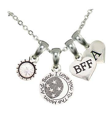 Custom BFF Best Friend Love You To The Moon Silver Necklace Choose Initial (Custom Best Friend Necklaces)