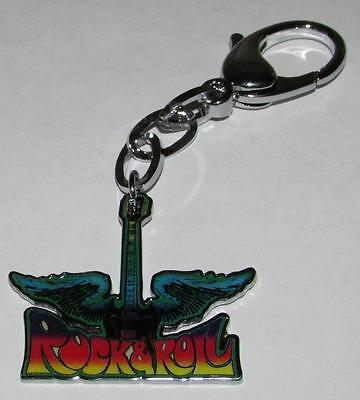 Rock & N and Roll Feathered GUITAR Metal Alloy KEY CHAIN Ring Keychain NEW