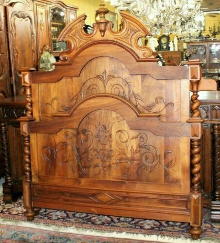 Antique Walnut French Louis XIII Full Size Bed & Rails Circa 1880