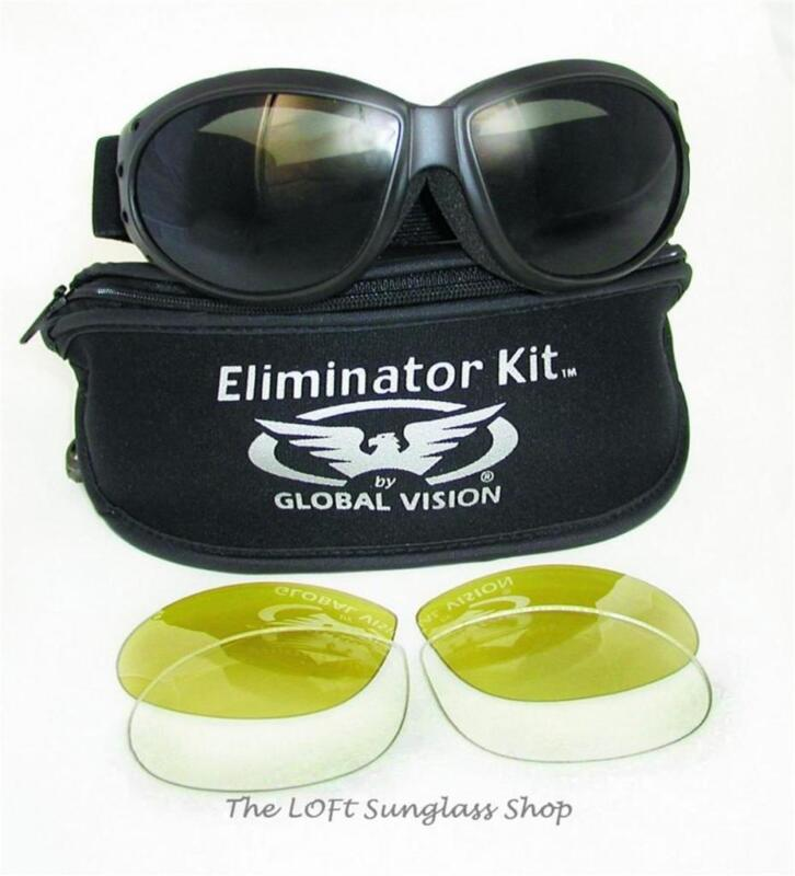 Three in One Biker Goggles Smoke Yellow Clear Lens Quick Change Eliminator Kit