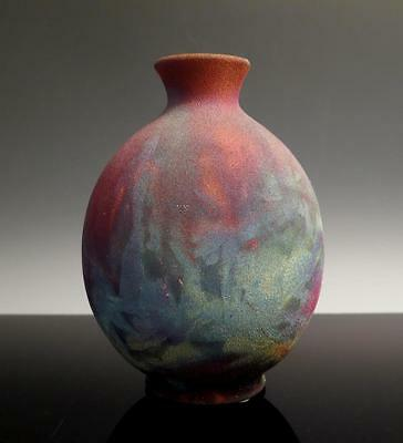 STUDIO POTTERY RAKU COPPER FLASH MATTE GLAZE VASE