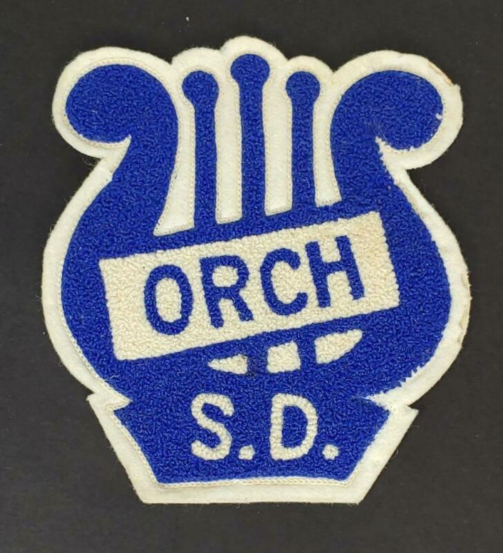VINTAGE San Diego HIGH SCHOOL BLUE & WHITE Orchestra SWEATER LETTER Patch MINT