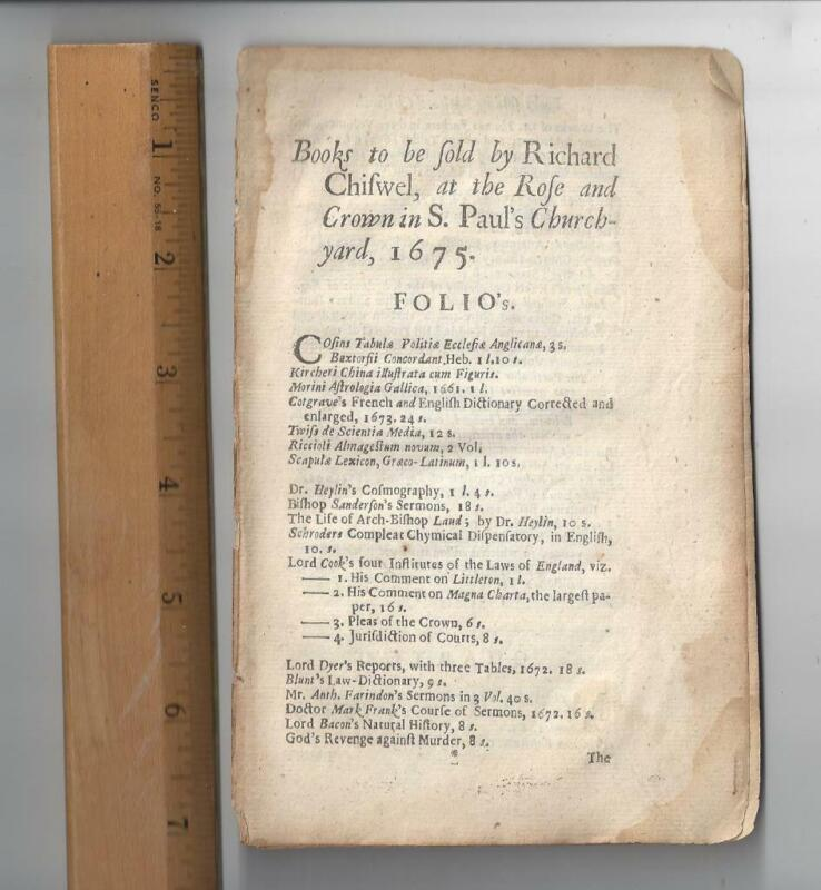 1675- 4 page advertisement for Richard Chiswell Publications in 1675 by size