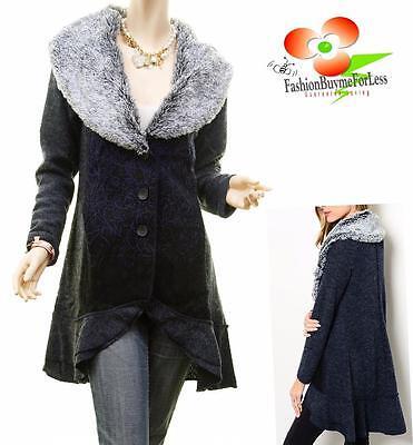 Fur Ruffle - Vintage Faux Fur Wool Ruffle Hem Embroidered Cardigan Sweater Jacket Trench Coat