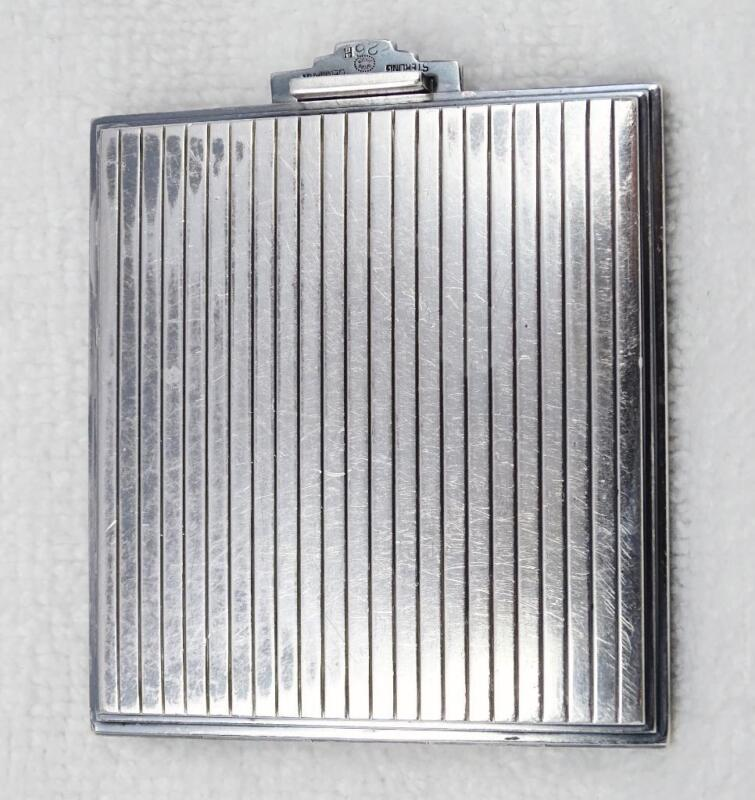 Vintage Georg Jensen Denmark Ribbed Sterling Silver Compact #226H