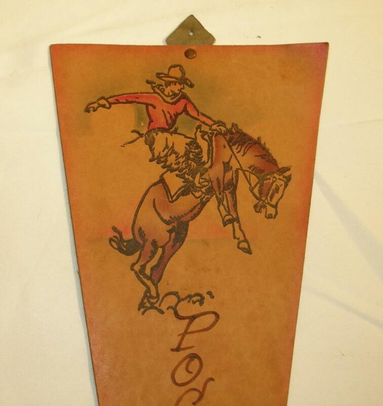 "Vintage 15"" LEATHER Pocatello Idaho PENNANT Banner SOUVENIR, BRONCO COWBOY!"