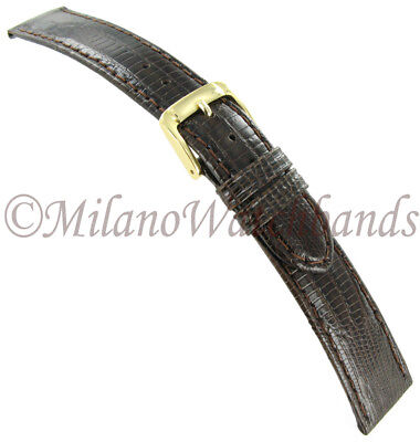 18mm Speidel Brown Padded Stitched Genuine Teju Lizard Mens Watch Band 913 530
