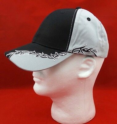 (Mens Baseball Ball Hat Gray Black Barbed Wire Tribal Biker Curved Brim Cap )