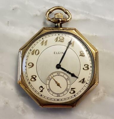 Vintage Elgin Pocket Watch With Gold Filled Case ~ 8-F8860