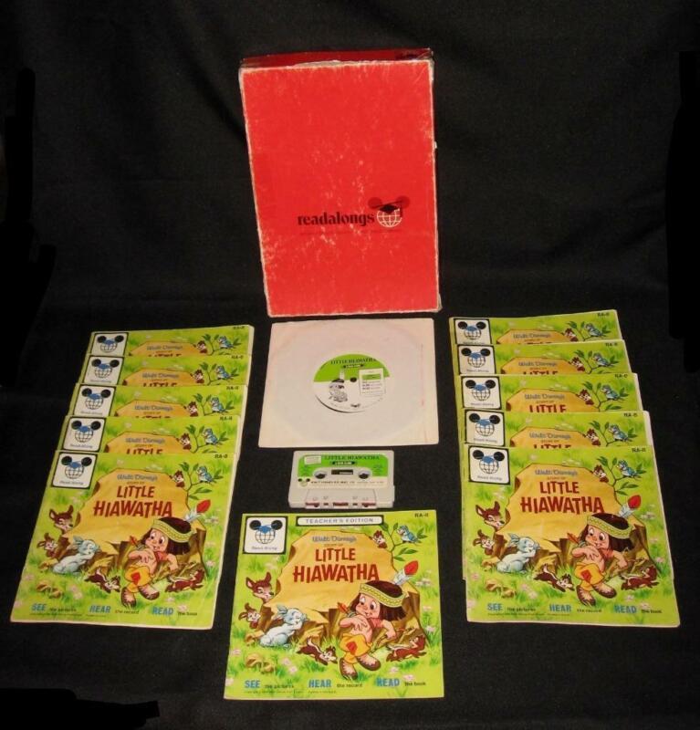 Vintage Disney READ-ALONG KIT ~  LITTLE HIAWATHA Books Cassette Record 1968