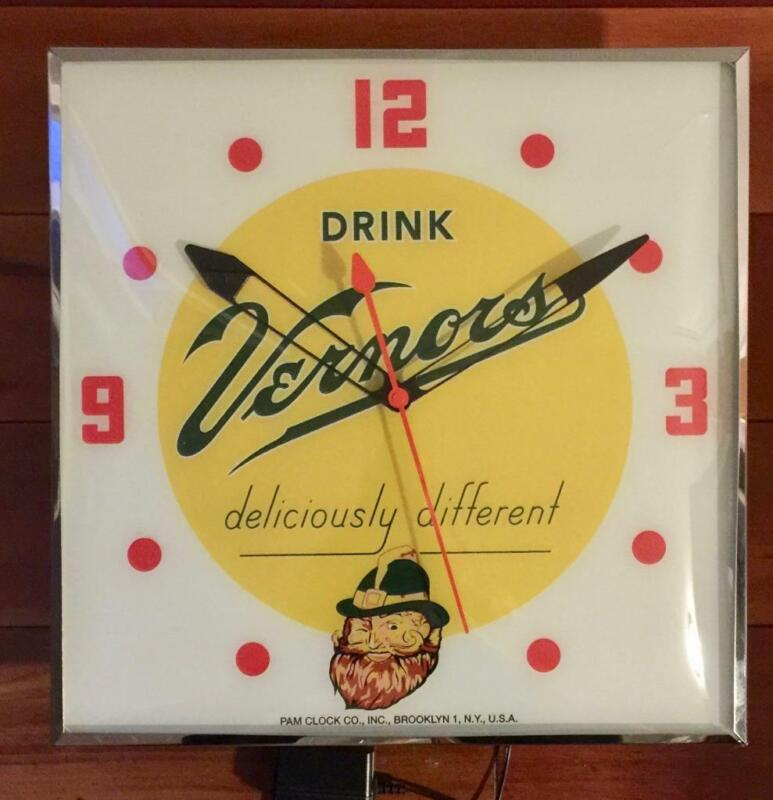 Pam Lighted Advertising Vernors Clock