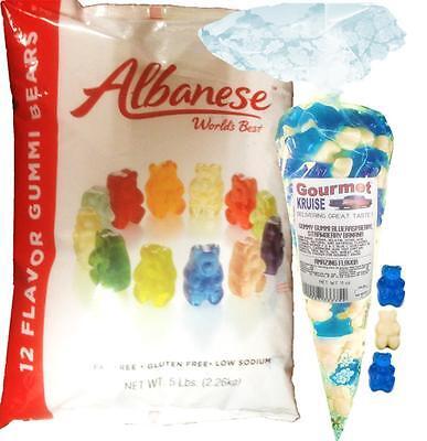 Gummy Bears 12 Flavor 5lb Bag With White And Blue Gummi 11oz Gourmet Kruise® Bag