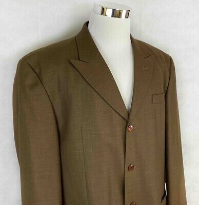 Stacy Adams Mens Four Button Suit Jacket Brown Single-Breasted Lined Tall 44L Four Button Single Breasted Suit