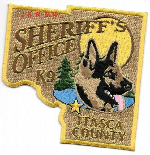 "Itasca County Sheriff K-9, Minnesota (4"" x 4"" size) shoulder police patch (fire)"