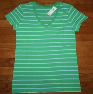 NEW NWT Womens GAP Short Sleeve V-Neck T-Shirt FAVORITE Tee Green Stripe *4R