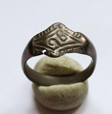 Ancient Viking Bronze Ring Runic Ornament C.850-1050 AD.VERY RARE