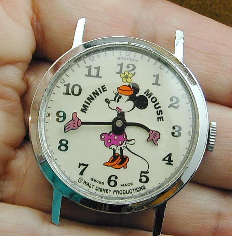 Vintage Mechanical Wind Pie Eye Minnie Mouse Watch Walt Disney Prod Swiss EXC