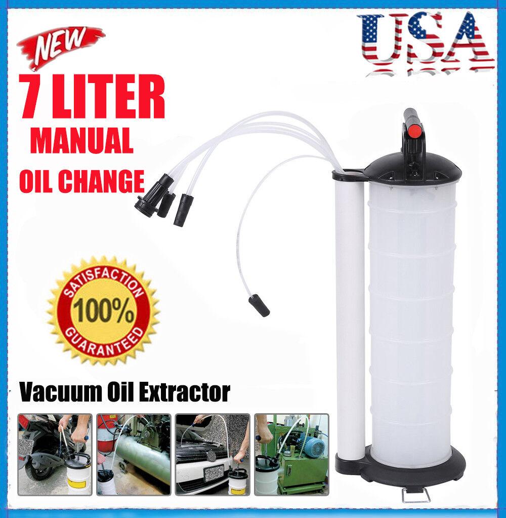 Vacuum Oil Fluid Extractor 7L Manual Fuel Petrol Syphon Pump Transfer Suction US
